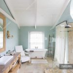 bathtub and shower in rustic bathroom color image home