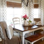 bay window farmhouse table bench and different chairs love it
