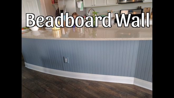 beadboard wall on kitchen island