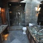 beautiful bathroom vanity idea river rock covered with