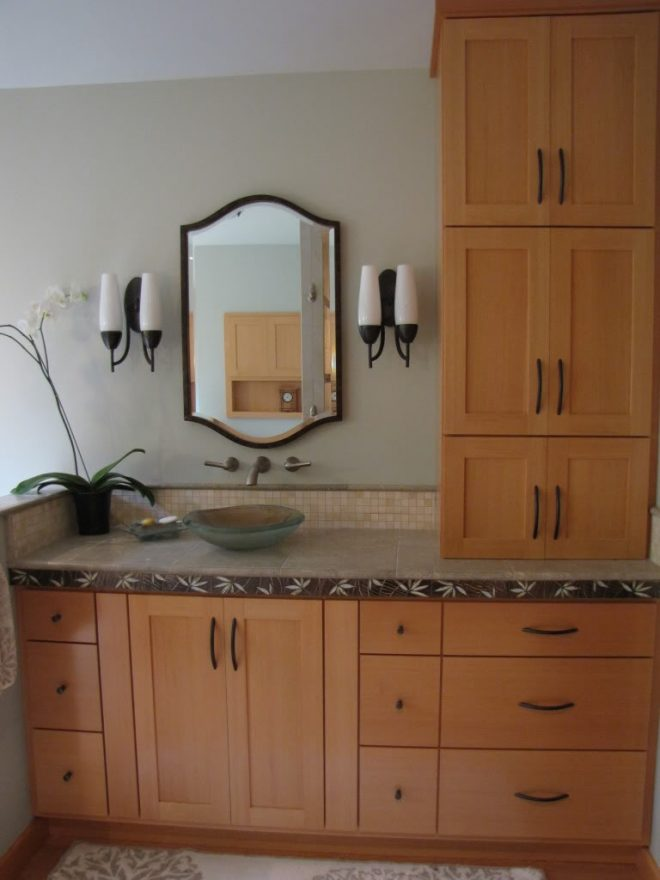 beautiful bathroom vanity with linen cabinet related to home