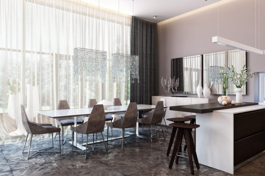 beautiful modern neutral dining room and kitchen with
