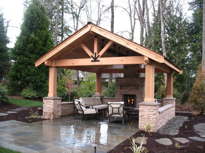 beautiful outdoor covered patio house design and garden