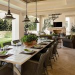 beautiful outdoor covered porch with large table for