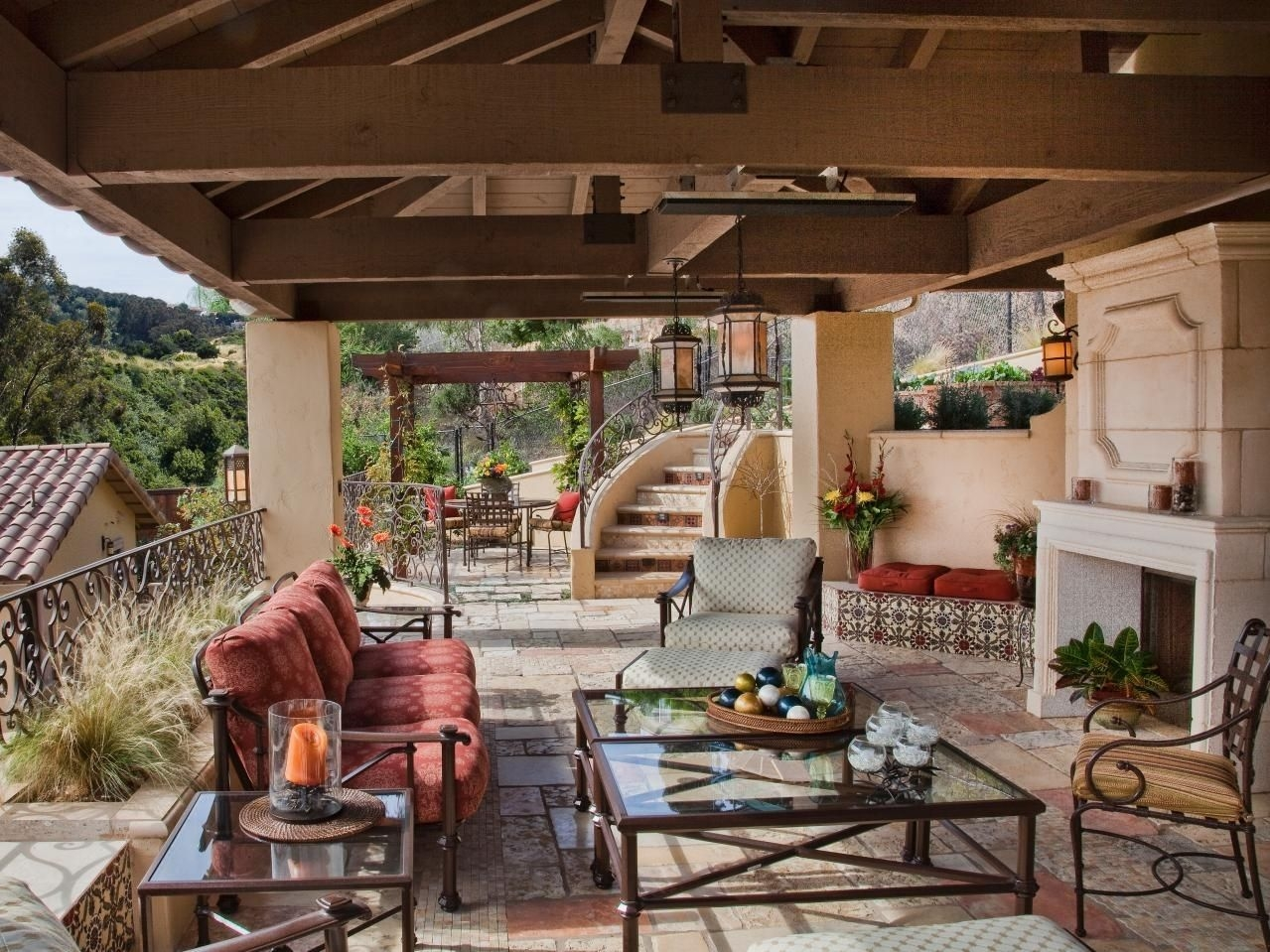 beautiful outdoor living space with a covered patio and seating area