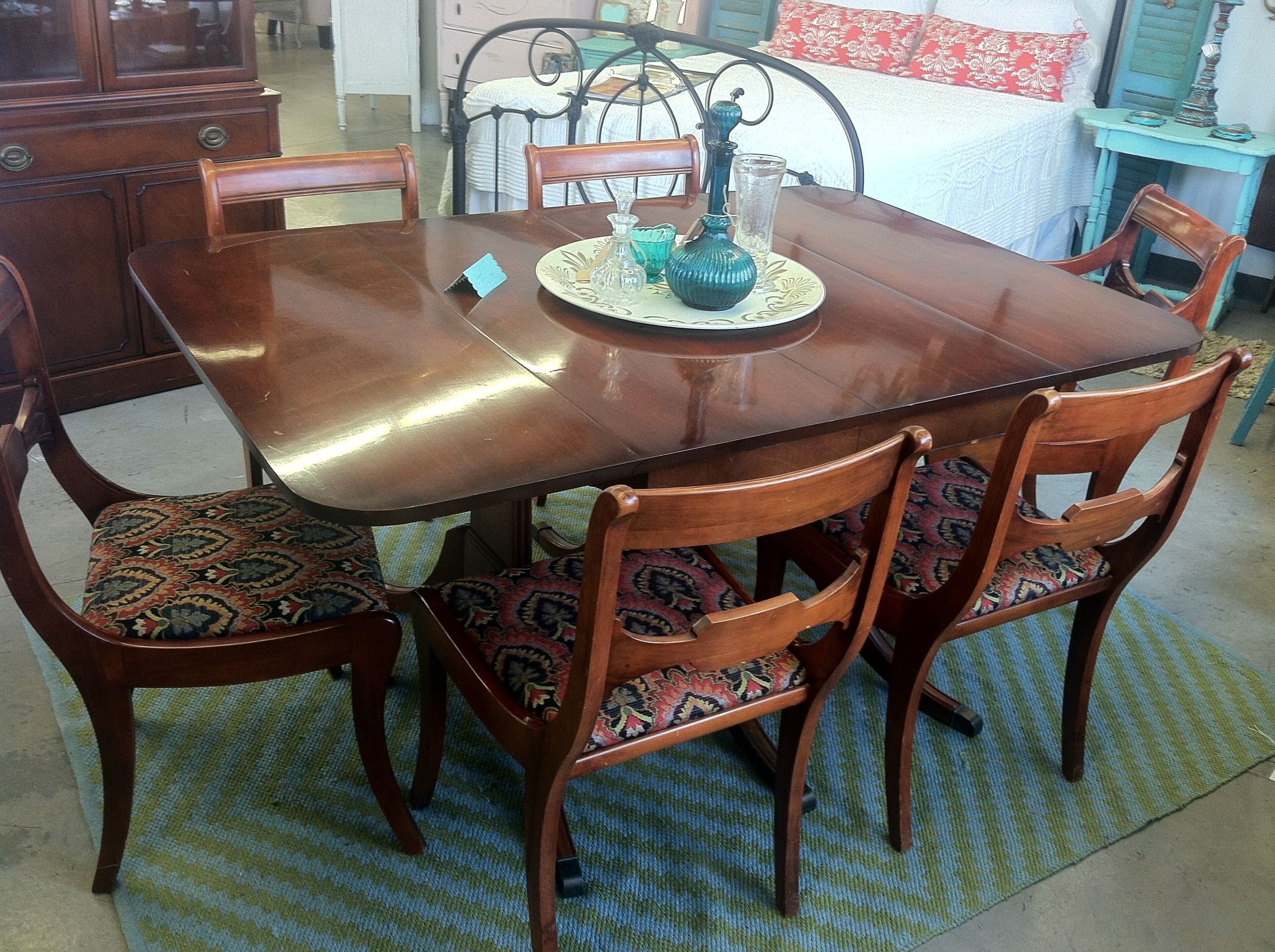 beautiful vintage drexel dining table with six reupholstered