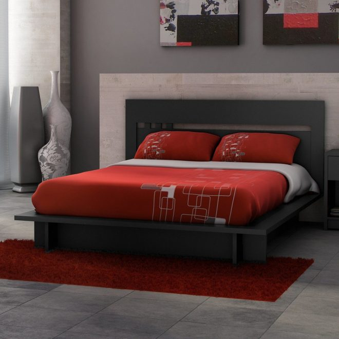 bed gray and red bedroom