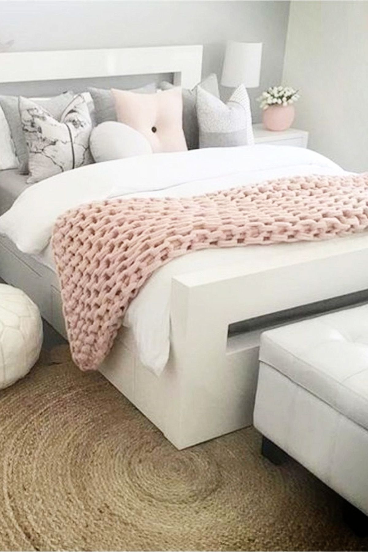 bedroom decorating ideas with gray pink and white love