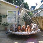 bedroom outdoor hanging circle bed idea tapestry wall garden