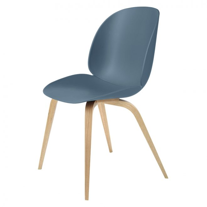 beetle unupholstered dining chair blue gray oak base
