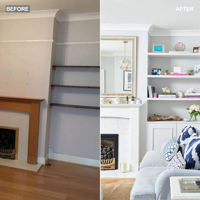 before and after coastal living room makeover