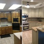before and after for updating drop ceiling kitchen fluorescent
