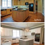 before and after white painted kitchen cabinets