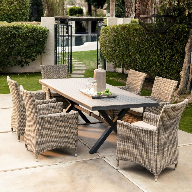 belham living bella all weather wicker 7 piece patio dining set seats 6 walmart
