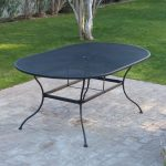 belham living stanton 42 x 72 in oval wrought iron patio dining table woodard textured black