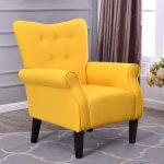 belleze modern accent chair roll arm linen living room bedroom wood leg citrine yellow