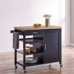 belleze wood top multi storage cabinet rolling kitchen island table cart with wheels black standard