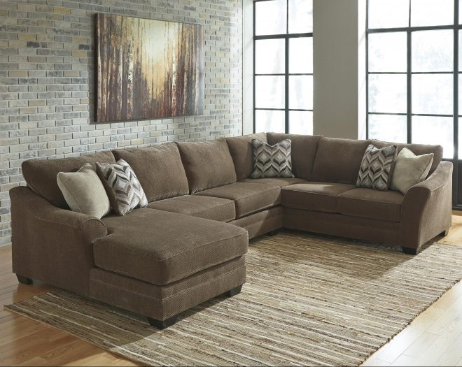 benchcraft justyna contemporary 3 piece sectional with left chaise