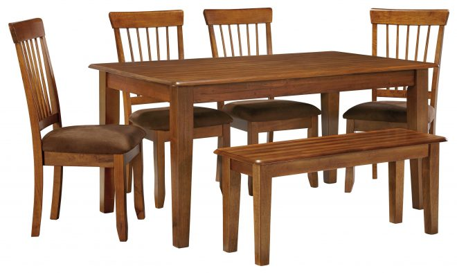 berringer 36 x 60 table with 4 chairs bench