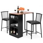 best choice products 36 inch wooden metal kitchen counter height dining table set w 2 stools