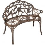 best choice products 39in outdoor floral rose accented metal garden patio park bench w antique finish bronze