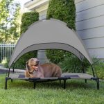 best choice products 48in outdoor raised mesh cot cooling dog pet bed w removable canopy travel bag gray