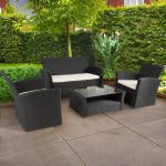 best choice products 4pc outdoor patio garden furniture wicker rattan sofa set black