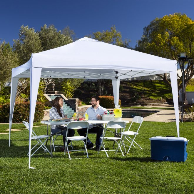 best choice products outdoor portable adjustable instant pop up gazebo canopy tent w carrying bag 10x10ft white