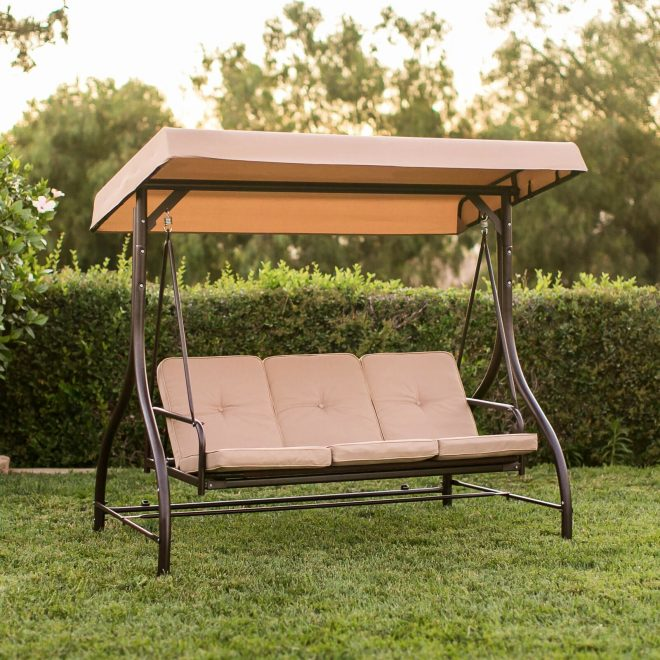 best choice products sky2468 3 seats converting patio canopy brown