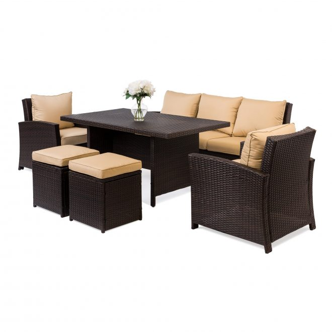 bestchoiceproducts best choice products 6 piece modular patio wicker dining sofa set outdoor furniture w 7 seats cushions brown rakuten