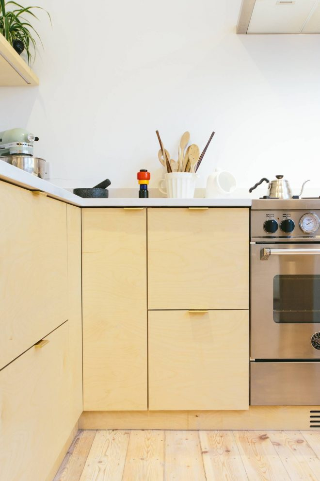 birch plywood kitchen with brass edge pull handles ikea