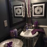 black and grey bathroom with lavender accents purple
