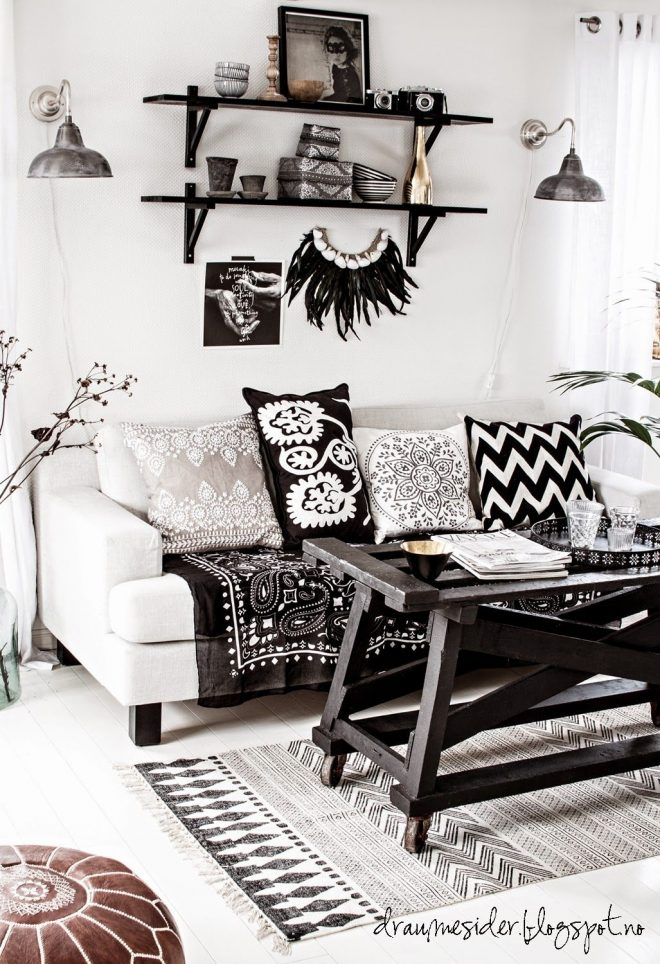 black and white bohemian living room elements 1 eclectic
