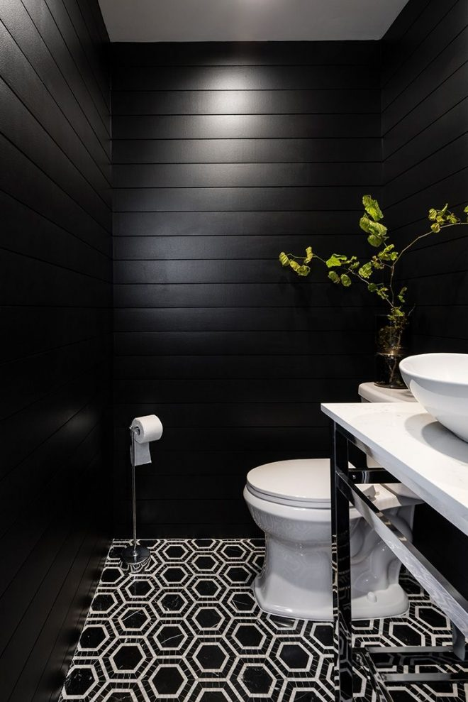 black and white powder room with printed tile in 2019