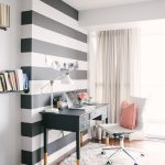 black and white striped wall in office home office home