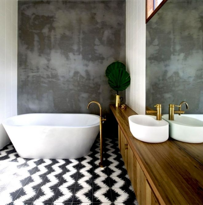 black and white zigzag bathroom tile paint ideas with wooden