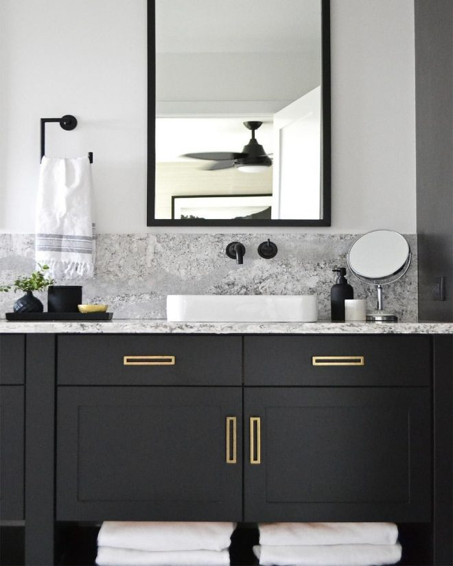 black cabinets brass hardware black tray and accessories