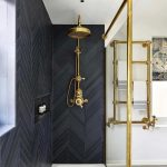 black chevron tile in the shower yes please photo via