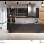 black kitchen counter wood and concrete stock illustration