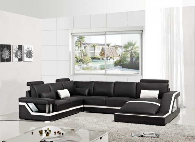 black leather modern sectional sofa chaise vig furniture vgyit271