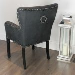 black studded dining chair with arms dining room chairs