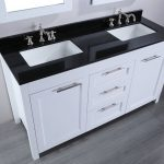 black top white vanity faux grey walnut hardwood floors
