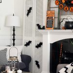 black white and orange halloween decorating in our living