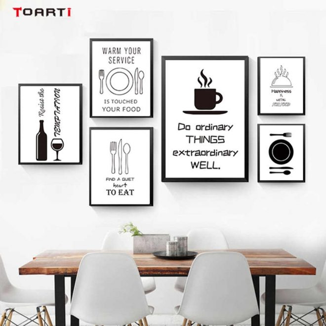 black white minimalist kitchen wall art canvas painting picture food wine kitchen decor cooking posters prints for living room