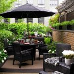 black wicker outdoor patio furniture with umbrella for small