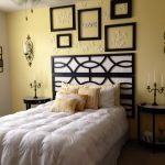 blackwhite bedroom pale yellow accent wall minus the