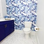 blue and white bathroom makeover reveal one room challenge
