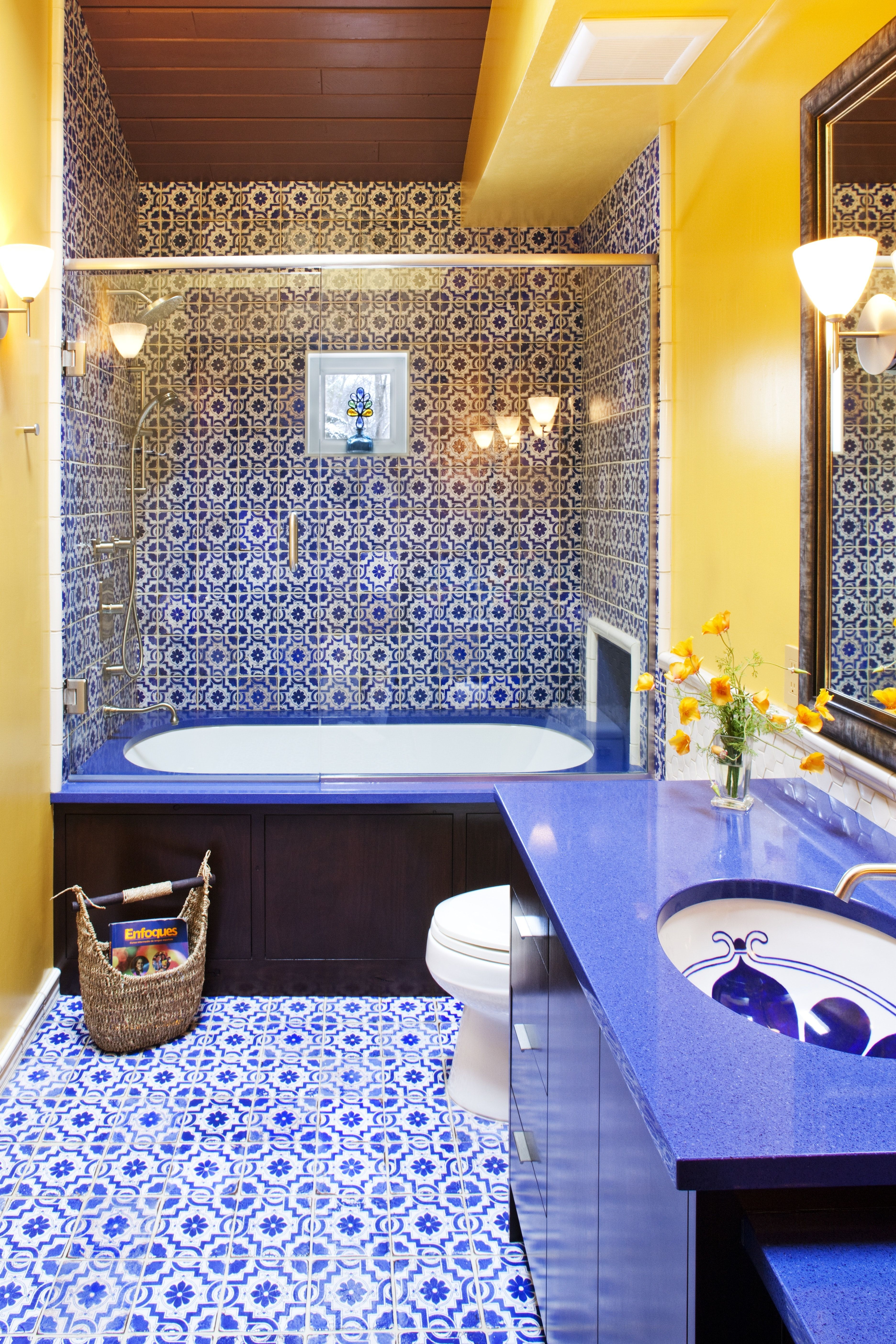 blue and yellow moroccan inspired guest bathroom home in