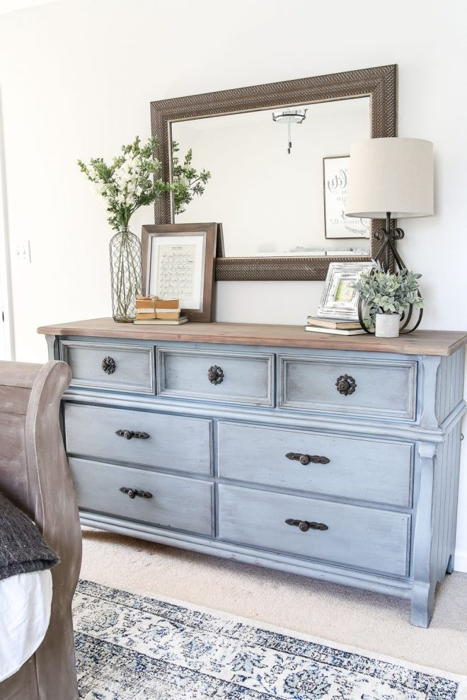 blue cottage style guest bedroom makeover reveal home
