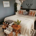 boho bedroom looks absolutely fabulous with its grey walls
